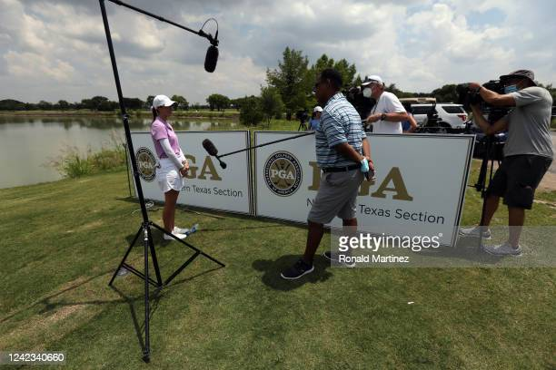 Cheyenne Knight is interviewed by the media after playing in the first round of the Energy Producers Inc Texas Women's Open on June 02 2020 in The...