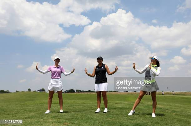 Cheyenne Knight Kristen Gillman and Savannah Vilaubi pose for a photo after playing the first round of the Energy Producers Inc Texas Women's Open on...