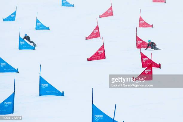 Cheyenne Loch of Germany competes Annamari Dancha of Ukraine wins the silver medal during the FIS World Snowboard Championships Men's and Women's...