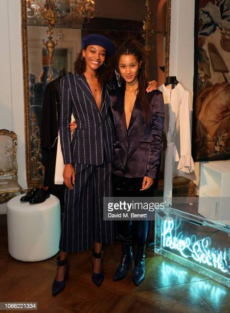 Cheyenne Maya Carty and Fenn O'Meally attend Paul Smith Womens Tuxedo Launch at the Italian Embassy on November 28 2018 in London England
