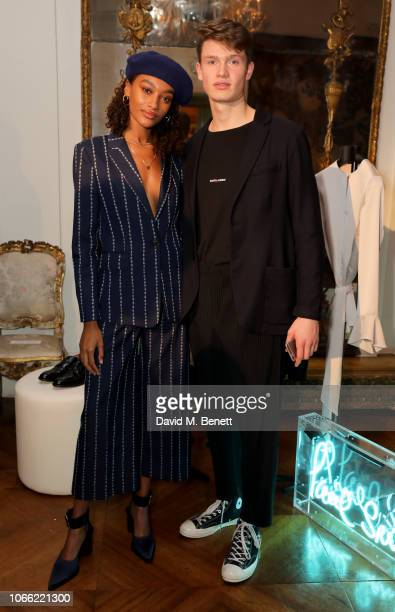 Cheyenne Maya Carty and Ruben Reich attend Paul Smith Womens Tuxedo Launch at the Italian Embassy on November 28 2018 in London England