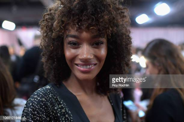 Cheyenne Maya Carty prepares backstage during 2018 Victoria's Secret Fashion Show in New York at Pier 94 on November 08 2018 in New York City