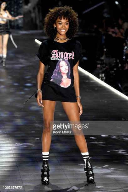 Cheyenne Maya Carty walks the runway during the 2018 Victoria's Secret Fashion Show at Pier 94 on November 8 2018 in New York City