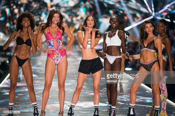 Cheyenne MayaCarty Sofie Rovenstine Sadie Newman Subah Koj Georgia Fowler and Mayowa Nicholas walk the runway during the 2018 Victoria's Secret...