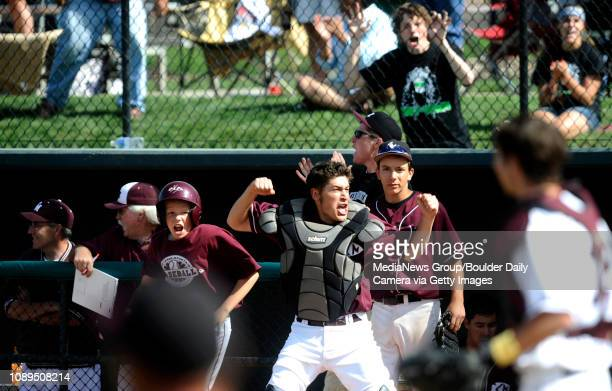 Cheyenne Mountain's Bret Helton reacts after a Silver Creek makes an error and allows two runs in during the class 4A state semifinals at AllStar...