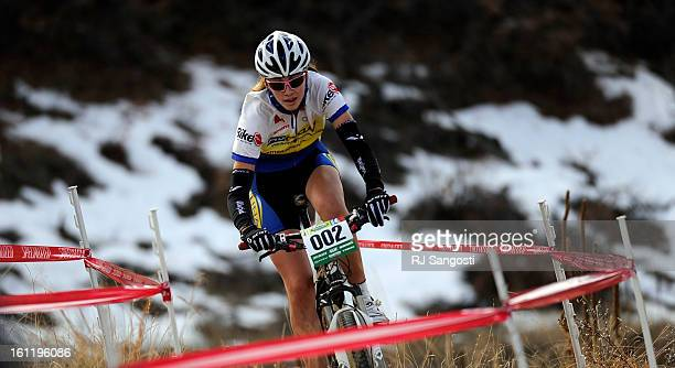 Cheyenne Mountain's Laurel Rathburn makes her way to the finish line Sunday November 13 during the Colorado High School Cycling League 2011 State...