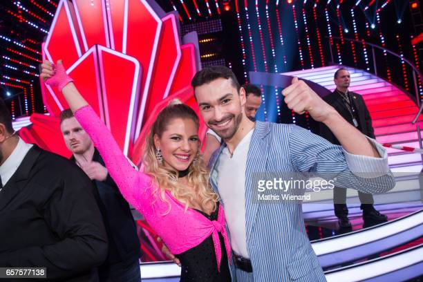 Cheyenne Pahde and Andrzej Cibis perform on stage during the 2nd show of the tenth season of the television competition 'Let's Dance' on March 24,...