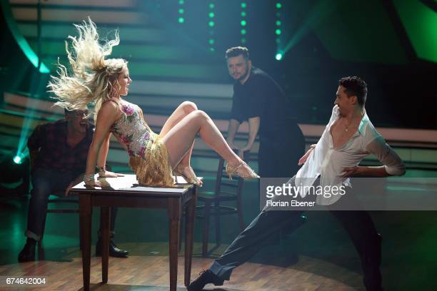 Cheyenne Pahde and Andrzej Cibis perform on stage during the 6th show of the tenth season of the television competition 'Let's Dance' on April 28,...