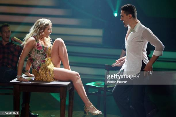 Cheyenne Pahde and Andrzej Cibis perform on stage during the 6th show of the tenth season of the television competition 'Let's Dance' on April 28...
