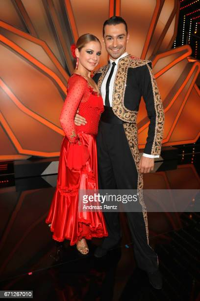 Cheyenne Pahde and Andrzej Cibis pose after the 5th show of the tenth season of the television competition 'Let's Dance' on April 21, 2017 in...