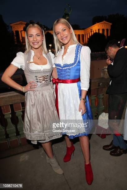 Cheyenne Pahde and her twin sister Valentina Pahde during the Oktoberfest 2018 opening at Kaeferschaenke at Theresienwiese on September 22, 2018 in...