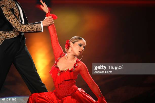 Cheyenne Pahde performs on stage during the 5th show of the tenth season of the television competition 'Let's Dance' on April 21, 2017 in Cologne,...