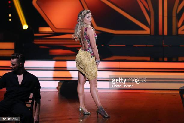 Cheyenne Pahde performs on stage during the 6th show of the tenth season of the television competition 'Let's Dance' on April 28 2017 in Cologne...