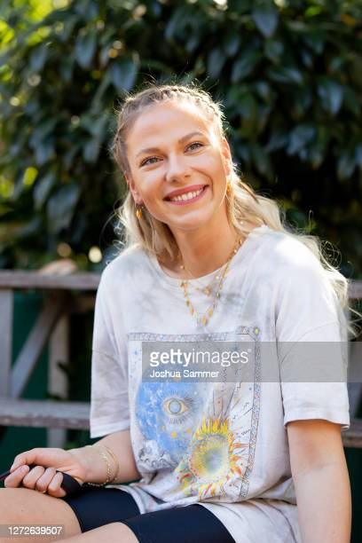 Cheyenne Pahde poses during a photocall at animal shelter Dellbrueck on September 15, 2020 in Cologne, Germany.