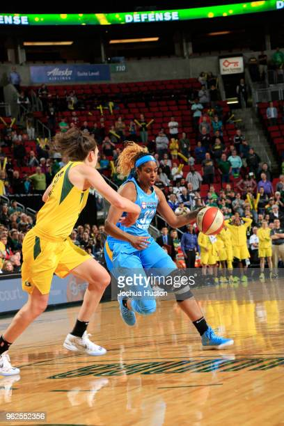 Cheyenne Parker of the Chicago Sky handles the ball against the Seattle Storm on May 25 2018 at Key Arena in Seattle Washington NOTE TO USER User...