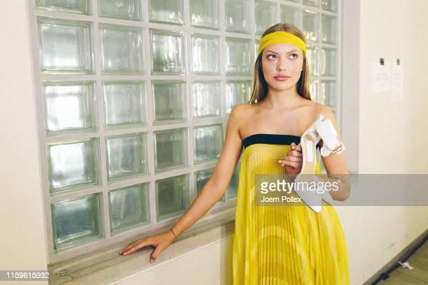 Cheyenne Savannah Ochsenknecht poses backstage ahead of the Maisonnoee show during the Berlin Fashion Week Spring/Summer 2020 at ewerk on July 02...