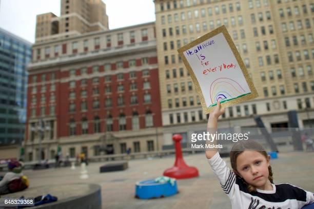 Cheyenne Snider arrives before a health care rally at Thomas Paine Plaza on February 25 2017 in Philadephia Pennsylvania Rallies are being held...