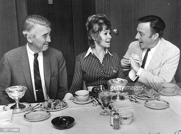 JUN 9 1970 JUN 10 1970 Cheyenne Social Club Gathering At The Brown Palace In Denver On Hand Were Jimmy Stewart Left Sue Ane Langdon And Gene Kelly