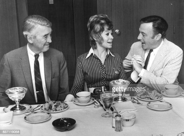 Cheyenne Social Club Gathering At The Brown Palace In Denver On Hand Were Jimmy Stewart Left Sue Ane Langdon And Gene Kelly Credit Denver Post