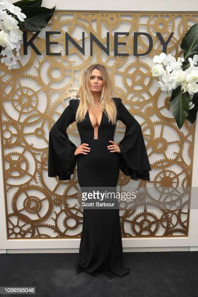 Cheyenne Tozzi poses at the Kennedy Marquee on Derby Day at Flemington Racecourse on November 3 2018 in Melbourne Australia