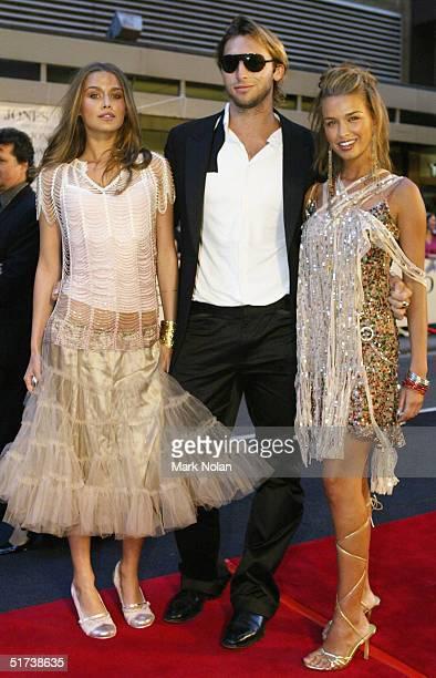 Cheyenne Tozzi Tahyna Tozzi and Ian Thorpe arrive at the David Jones Launch Party at Elizabeth Street on November 13 2004 in Sydney Australia