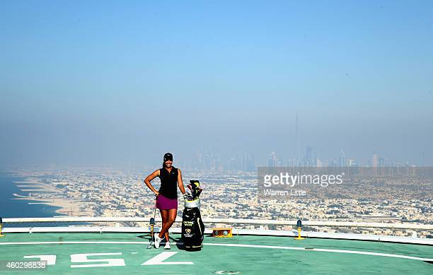 Cheyenne Woods of the USA poses for a picture on the helipad on top of the Burj Al Arab Hotel after her second round of the Omega Dubai Ladies...
