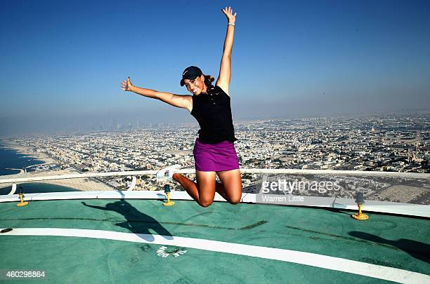 Cheyenne Woods of the USA poses for a picture on the heli-pad on top of the Burj Al Arab Hotel after her second round of the Omega Dubai Ladies...