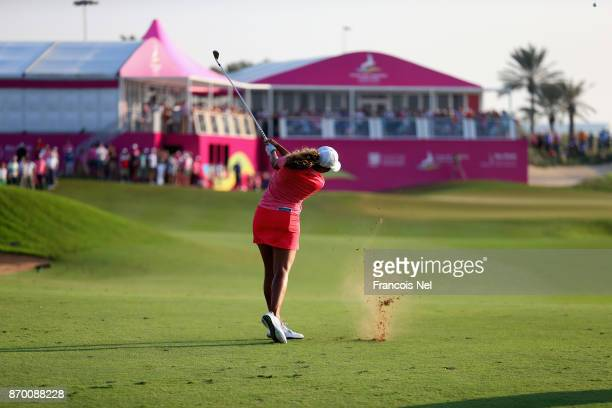 Cheyenne Woods of USA plays her second shot on the 18th hole during Day Four of the Fatima Bint Mubarak Ladies Open at Saadiyat Beach Golf Club on...