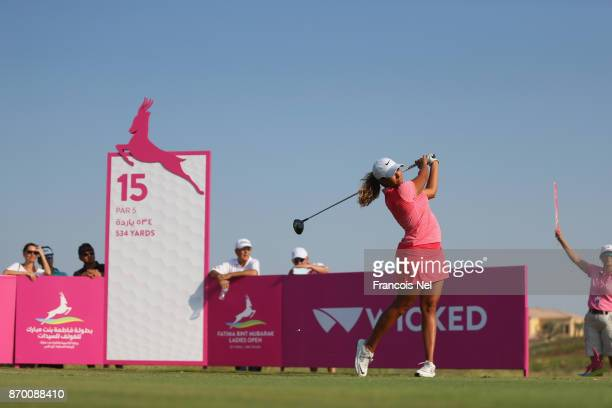 Cheyenne Woods of USA tees off on the 15th hole during Day Four of the Fatima Bint Mubarak Ladies Open at Saadiyat Beach Golf Club on November 4 2017...