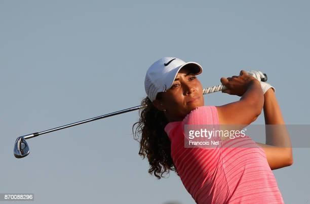 Cheyenne Woods of USA tees off on the 17th hole during Day Four of the Fatima Bint Mubarak Ladies Open at Saadiyat Beach Golf Club on November 4 2017...