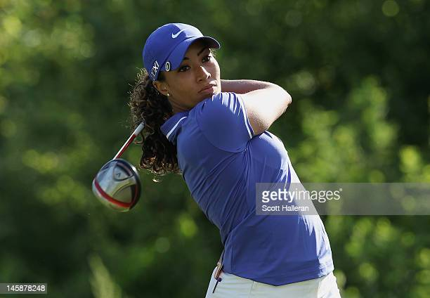 Cheyenne Woods watches her shot on the second hole during the Wegmans LPGA Championship at Locust Hill Country Club on June 7 2012 in Pittsford New...
