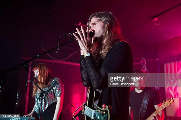 Cheylene Murphy, Alan Haslam and Ben Behzadafshar of Pleasure Beach perform onstage at Bar Sub on February 19, 2016 in Belfast, Northern Ireland.