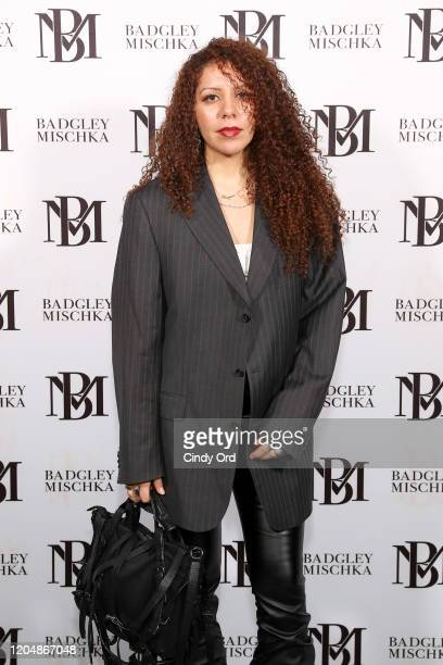 Cheyma Ha poses backstage for Badgley Mischka during New York Fashion Week: The Shows at Gallery I at Spring Studios on February 08, 2020 in New York...