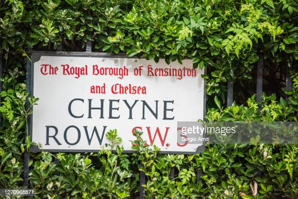 cheyne row sign on railing with ivy - railings stock pictures, royalty-free photos & images