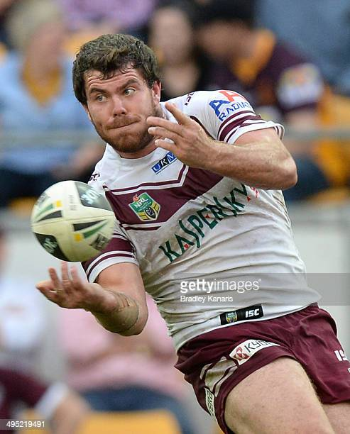 Cheyse Blair of the Sea Eagles passes the ball during the round 12 NRL match between the Brisbane Broncos and the ManlyWarringah Sea Eagles at...