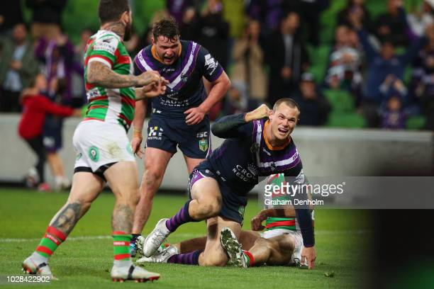 Cheyse Blair of the Storm celebrates scoring a try during the NRL Qualifying Final match between the Melbourne Storm and the South Sydney Rabbitohs...
