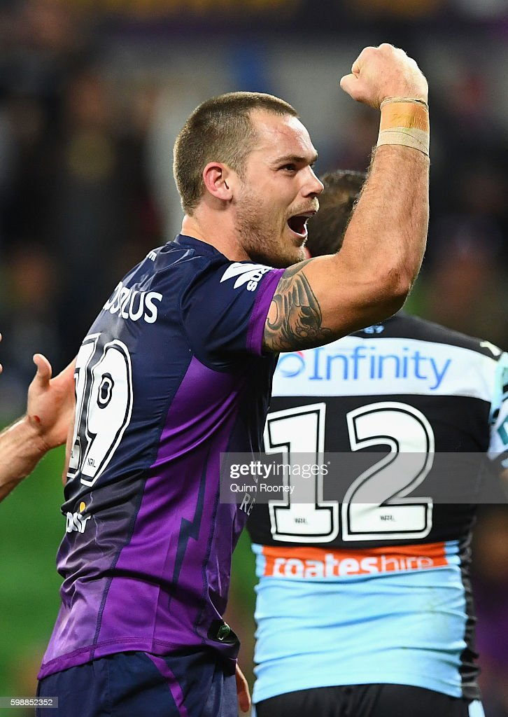 Cheyse Blair of the Storm celebrates scoring a try during the round 26 NRL match between the Melbourne Storm and the Cronulla Sharks at AAMI Park on September 3, 2016 in Melbourne, Australia.