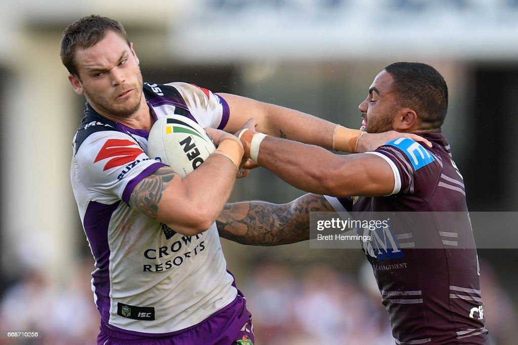 Cheyse Blair of the Storm is tackled during the round seven NRL match between the Manly Sea Eagles and the Melbourne Storm at Lottoland on April 15, 2017 in Sydney, Australia.