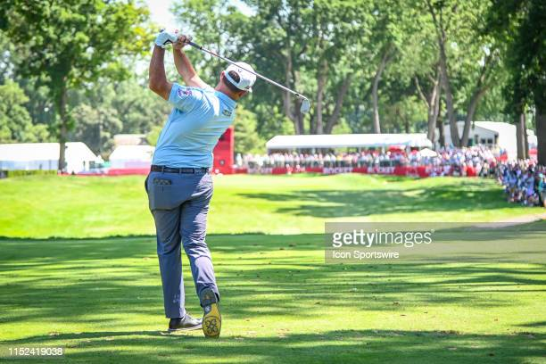 Chez Reavie hits his tee shot on the 9th hole during the Rocket Mortgage Classic Golf Tournament on Friday June 27, 2019 at Detroit Golf Club in...