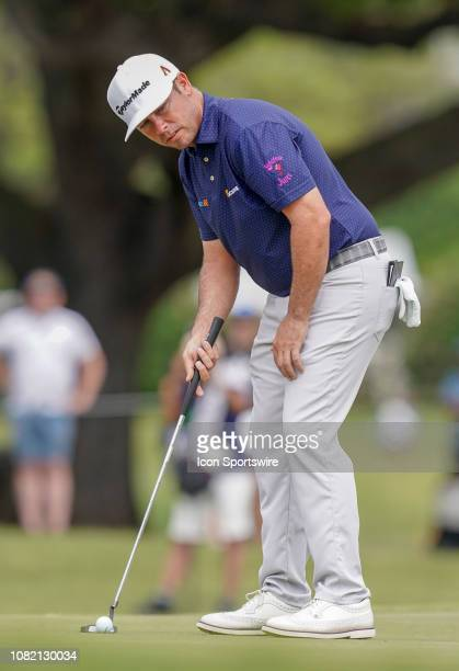 Chez Reavie lines up his putt at the 3rd hole during the final round of the Sony Open on January 13 at the Waialae Country Club in Honolulu HI