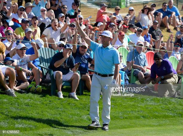 Chez Reavie makes a chip shot on the sixth hole during the final round of the Waste Management Phoenix Open at TPC Scottsdale on February 4 2018 in...