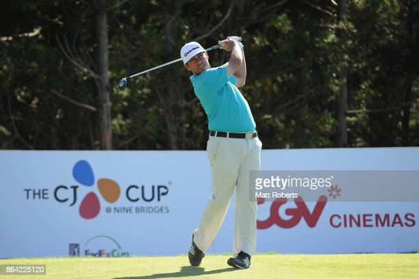 Chez Reavie of the United States hits his tee shot on the 18th hole during the third round of the CJ Cup at Nine Bridges on October 21 2017 in Jeju...