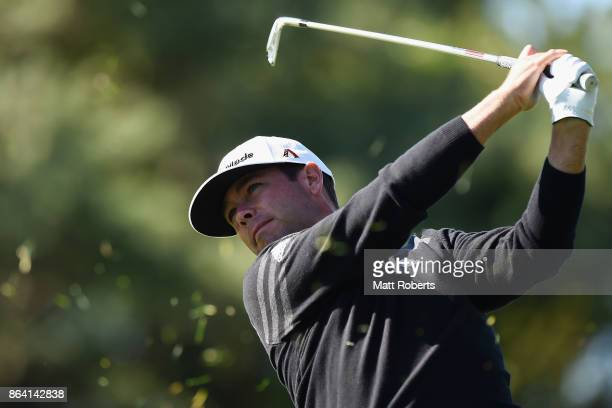 Chez Reavie of the United States plays his approach shot on the 3rd hole during the third round of the CJ Cup at Nine Bridges on October 21 2017 in...