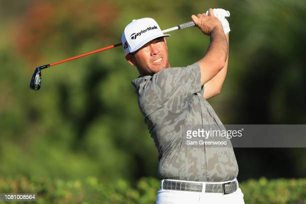 Chez Reavie of the United States plays his shot from the 15th tee during the second round of the Sony Open In Hawaii at Waialae Country Club on...