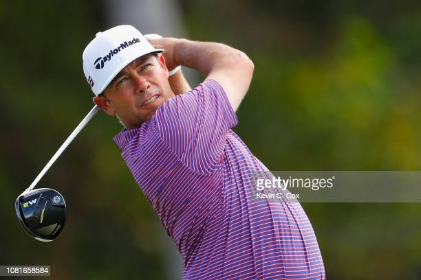 Chez Reavie of the United States plays his shot from the first tee during the third round of the Sony Open In Hawaii at Waialae Country Club on...