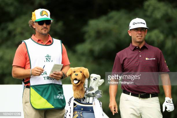 Chez Reavie of the United States prepares to play from the second tee during the final round of The Northern Trust on August 26 2018 at the Ridgewood...