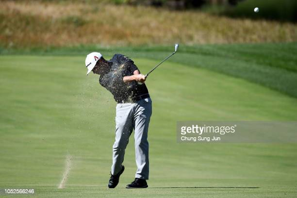 Chez Reavie of United plays a shot on the 9th hole during the third round of the CJ Cup at the Nine Bridges on October 20 2018 in Jeju South Korea