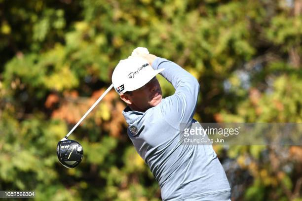 Chez Reavie of United plays a tee shot on the 3rd hole during the third round of the CJ Cup at the Nine Bridges on October 20 2018 in Jeju South Korea