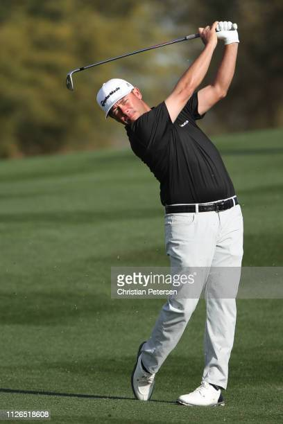 Chez Reavie plays his second shot on the second hole during the first round of the Waste Management Phoenix Open at TPC Scottsdale on January 31 2019...