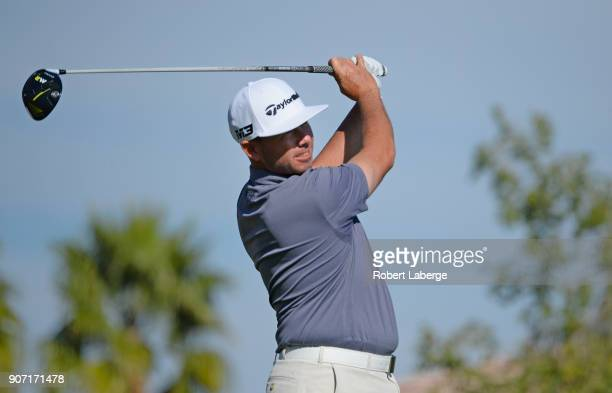Chez Reavie plays his shot from the 11th tee during the second round of the CareerBuilder Challenge at the Jack Nicklaus Tournament Course at PGA...